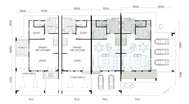 Serene Shangrila Two & A Half Storey Terrace House Ground Floor Plan